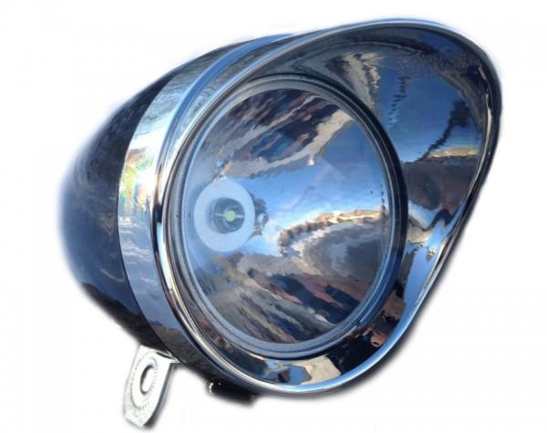 Classic Cycle Feu avant LED rétro batterie, 70mm, noir, avec visière CP
