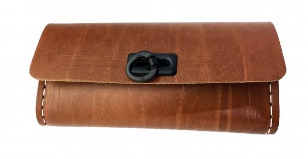 Sac de selle pour outils, brun avec 1 prise noire