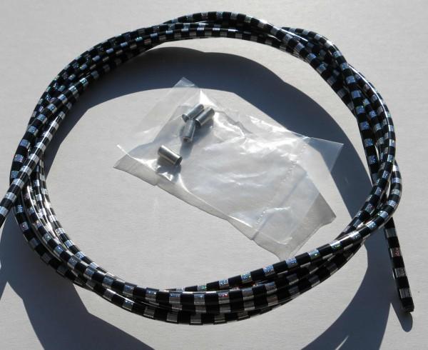 Sortie câble Bowden, drapeau à damier noir /argent, 2,50m x 5mm