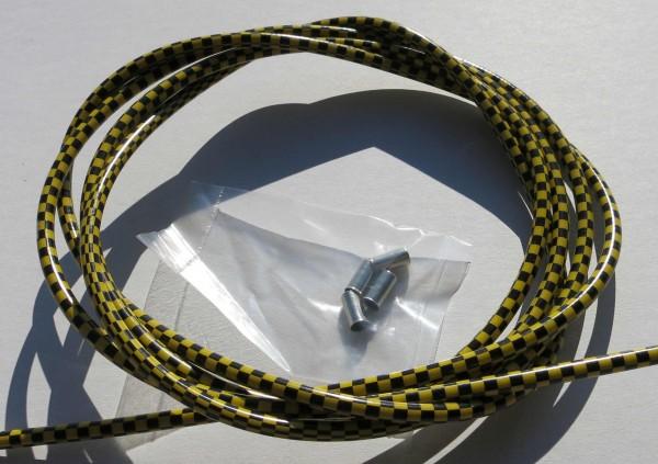 Sortie câble Bowden, drapeau à damier noir /doré, 2,50m x 5mm