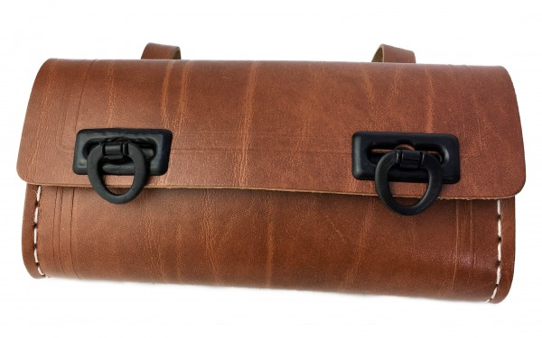Sac de selle pour outils, brun avec deux prises noires