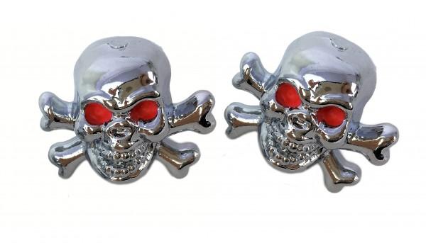 Bouchons de valve tête-de-mort avec os croisés, chromé