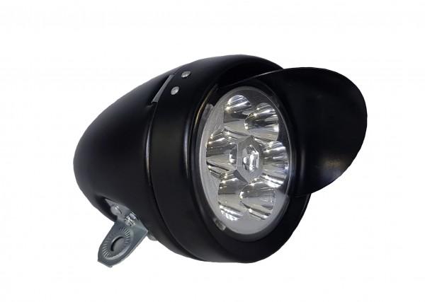 CC LED Rétro batterie Frontlamp 70 mm, Visor CP noir mat