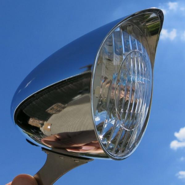 Classic Cycle Feu avant LED 6V Dynamo , 90mm, chrome, avec visière