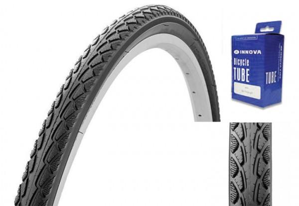 Pneus pour Trekking ou City Bike 28 x 1.75 avec tuyau et protection anti-crevaisons