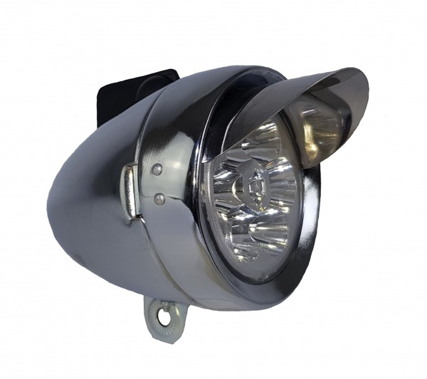 CC Rétro LED batterie Frontlamp 70 mm, argent