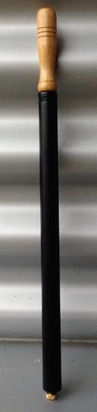 Pompe à pneu métal noir, avec manche en bois