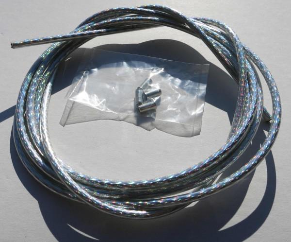 Sortie câble Bowden argent irisé brillant