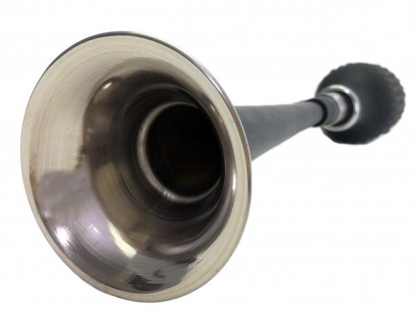 Cornet long et droit à poire en acier inoxydable, noir laqué avec support
