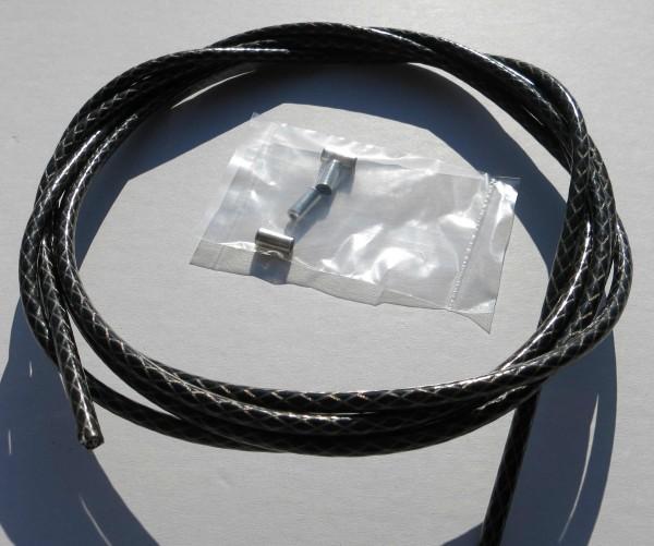 Sortie câble Bowden, motif à losange argent / noir métallisé, 2,50m x 5mm