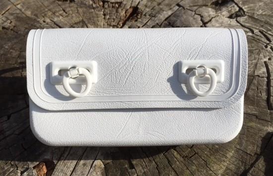 Sac de selle pour outils vintage, plastique, blanc, 1970-80