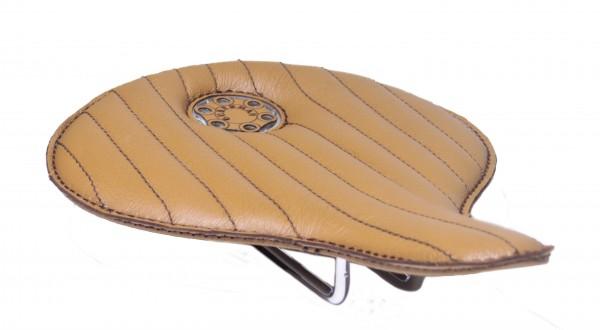 Selle en cuir Avant-garde brun clair avec coutures brunes