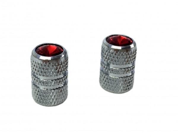 Bouchons de valve ondulés avec strass, rouge