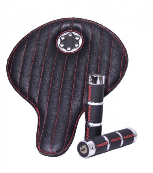 Special Box Selle en cuir noir avant-garde avec coutures rouges et poignées