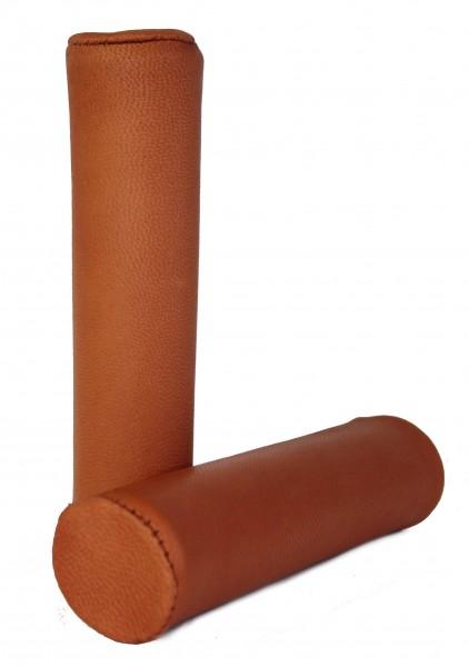 Poignées en cuir véritable, brun