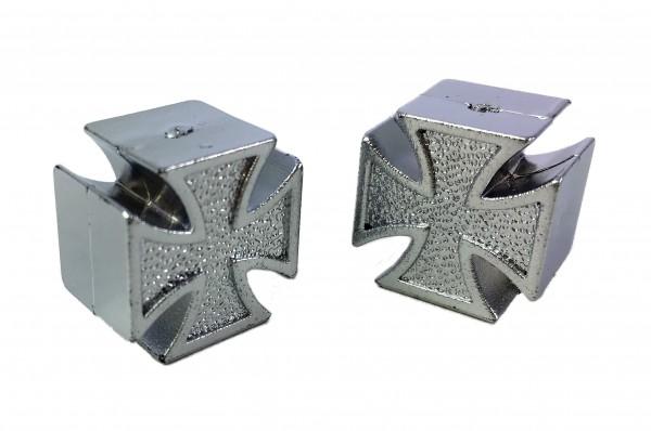 Bouchons de valve Iron Cross / croix de Malte, chromé